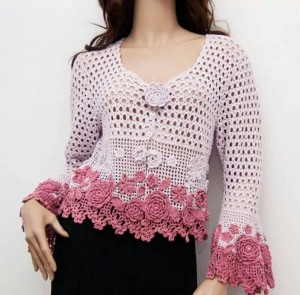 flowers and mesh crochet cardigan