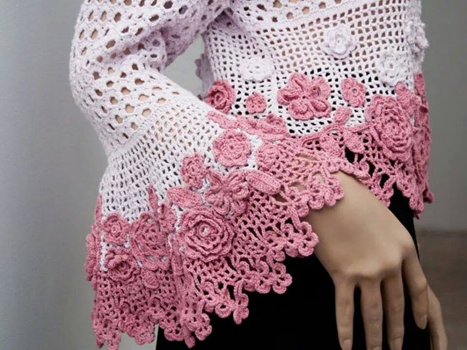 Crochet Flower Cardigan Pattern : Flowers and Mesh Crochet Cardigan Pattern ? Crochet Kingdom