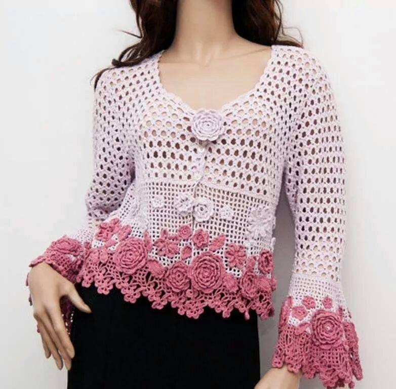 flowers and mesh crochet cardigan pattern crochet kingdom