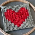 Heart Themed Crochet Square