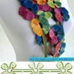 Colorful Flower Motif Crochet Scarf Pattern