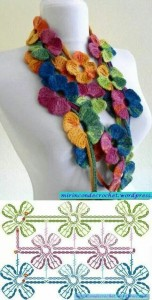 colorful flower crochet scarf