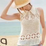 Crochet Top with Floral Squares and Collar