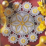 Yellow and White Doily