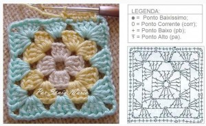 Patchwork Crochet Free Pattern Diamond Design - granny square diagram