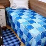 Blue Lace Crochet Squares Bedspread
