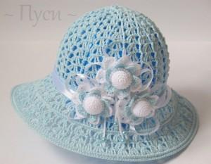 crochet hat pattern in blue