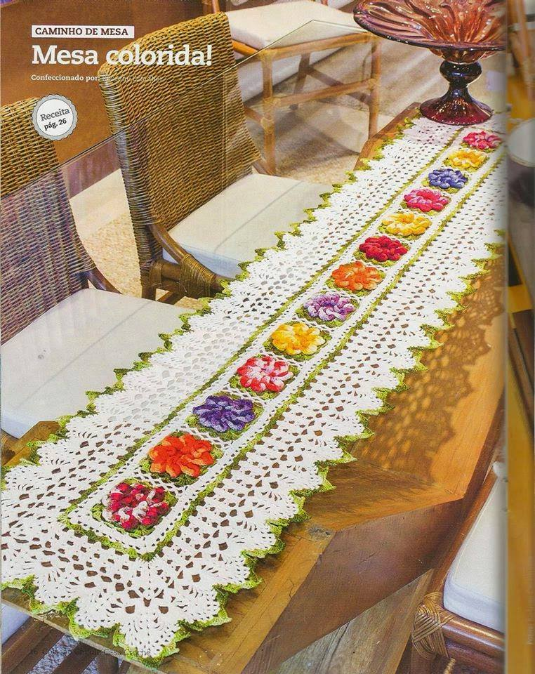 Free Crochet Table Runner Pattern Colorful Flowers Crochet Kingdom