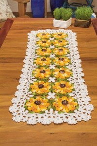yellow flower table runner