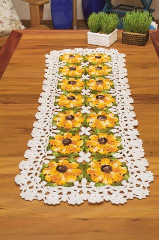 Free Crochet Table Runner Pattern Yellow Flowers Crochet Kingdom