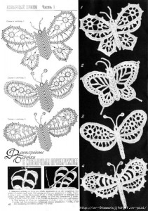 A collection of crochet  patterns Irish lace butterflies 3
