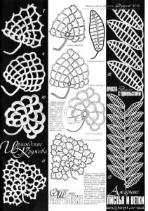 A collection of crochet patterns Irish lace leaves
