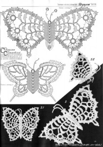 A collection of crochet  patterns. Irish lace  butterflies