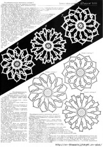 A collection of crochet  patterns. Irish lace circles 1
