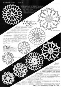 A collection of crochet  patterns. Irish lace circles
