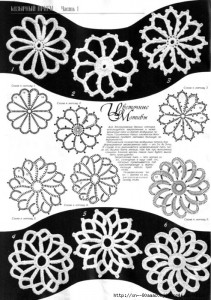 A collection of crochet  patterns. Irish lace circles flowers