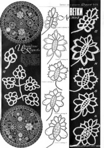 A collection of crochet  patterns. Irish lace  leaves