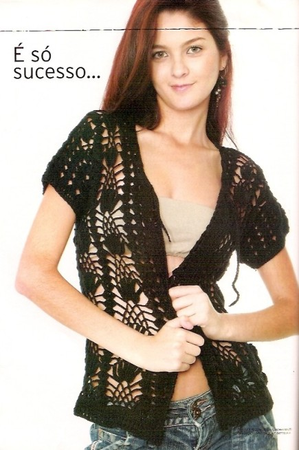 Crochet Cardigan Pattern With Eyelets And 34 Sleeves Crochet Kingdom