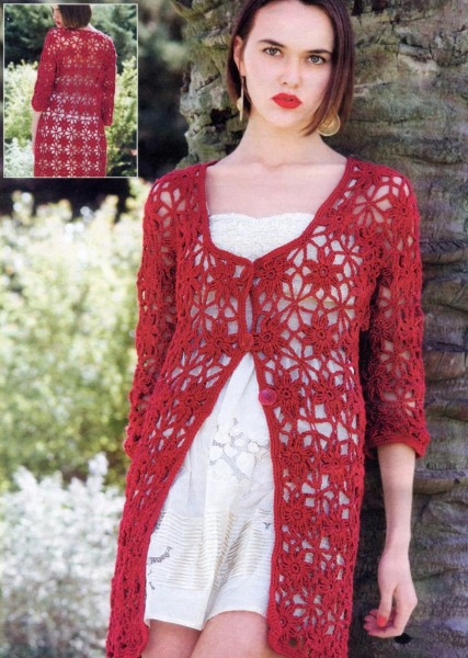 Long Red Crochet VestCardigan Pattern ⋆ Crochet Kingdom Adorable Crochet Long Cardigan Pattern