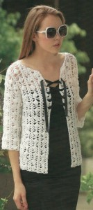 Silk Cotton Three Quarter Sleeve Cardi Pattern 1