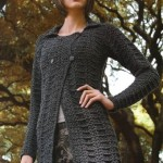 Black Textured Crochet Cardigan Pattern