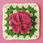 Granny Square with Flower Crochet Pattern