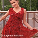 Red Circular Motif Dress Pattern