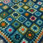 blue green and orange granny square