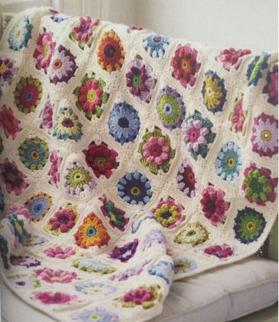 Crochet Patterns For Blankets Square Patterns : Circle Square Colorful Motif Blanket ? Crochet Kingdom