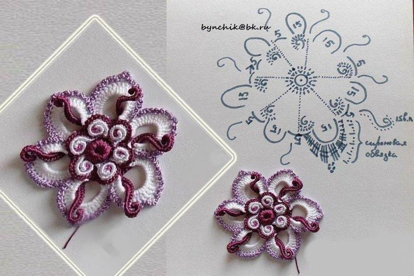 Irish lace purple crochet flower crochet kingdom flower crochet in purple and white dt1010fo