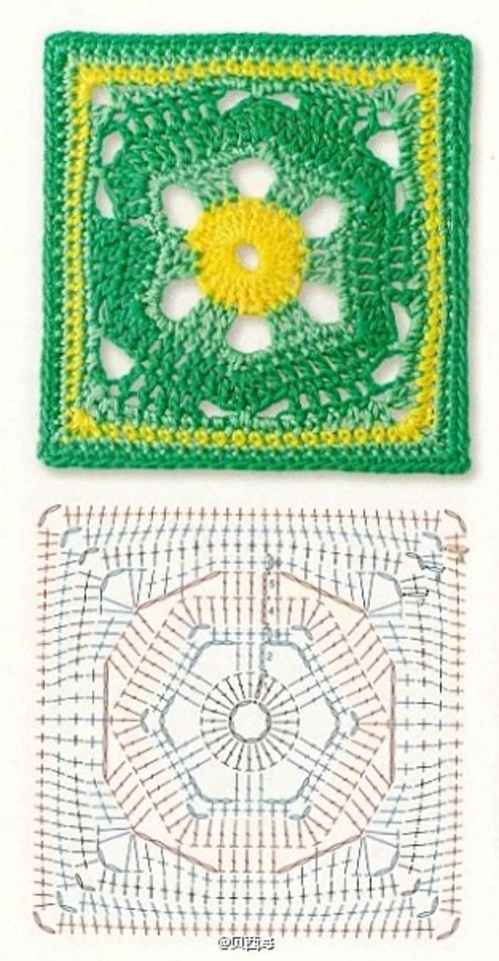 hexagon ina a square crochet