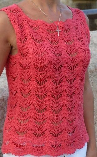 Salmon Pink Crochet Tanks Top Pattern  U22c6 Crochet Kingdom