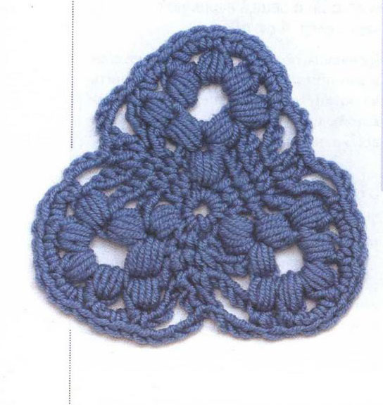 Triangle Bobble Crochet Motif Pattern