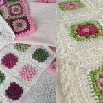 Two knitted crochet square