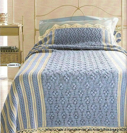 Crochet Stripes, Cables and Bobbles Bedspread
