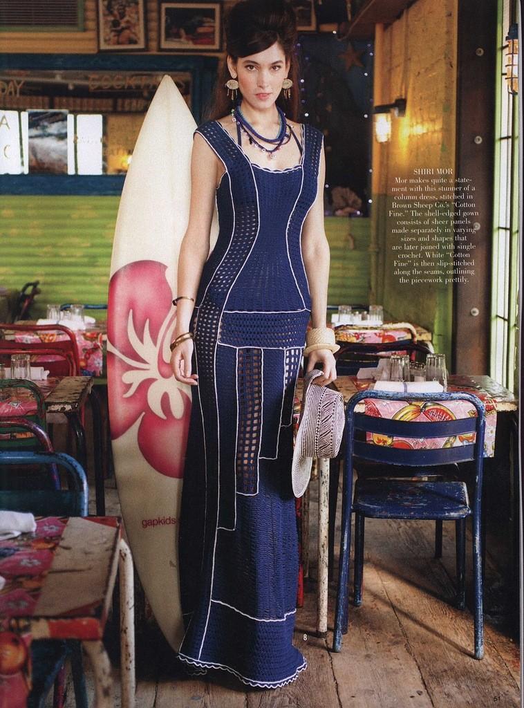 Elegant Long Columns Dress Crochet