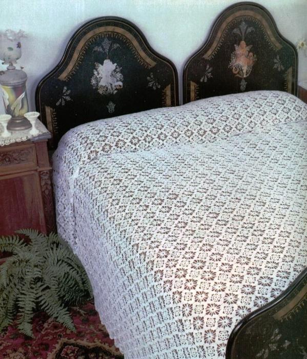 Openwork Veil Lace Crochet Bedspread pattern
