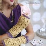 Square Flower Motif Fingerless Crochet Gloves