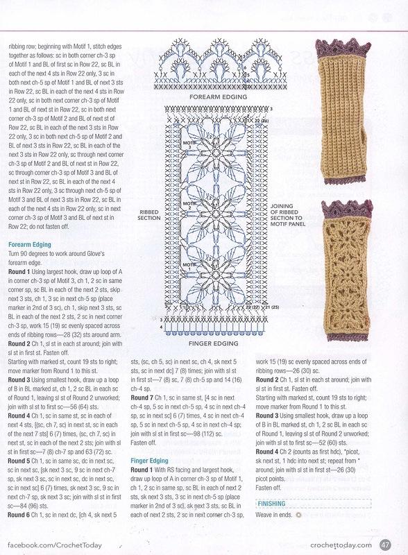 Square Flower Motif Fingerless Crochet Gloves 2