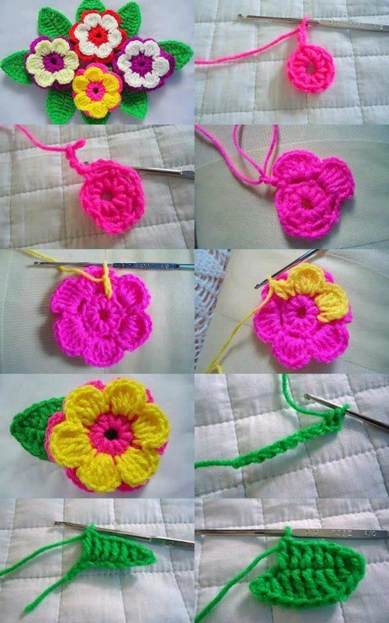 Step By Step Images Of This Pretty Pink And Yellow Flower Crochet