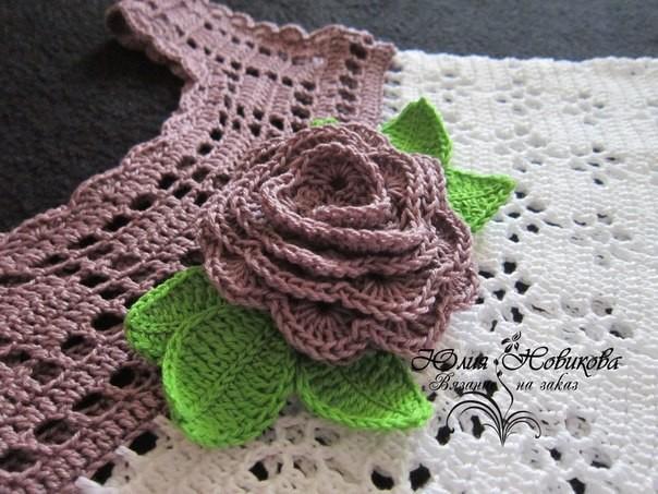 Two toned baby dress crochet pattern flower motif
