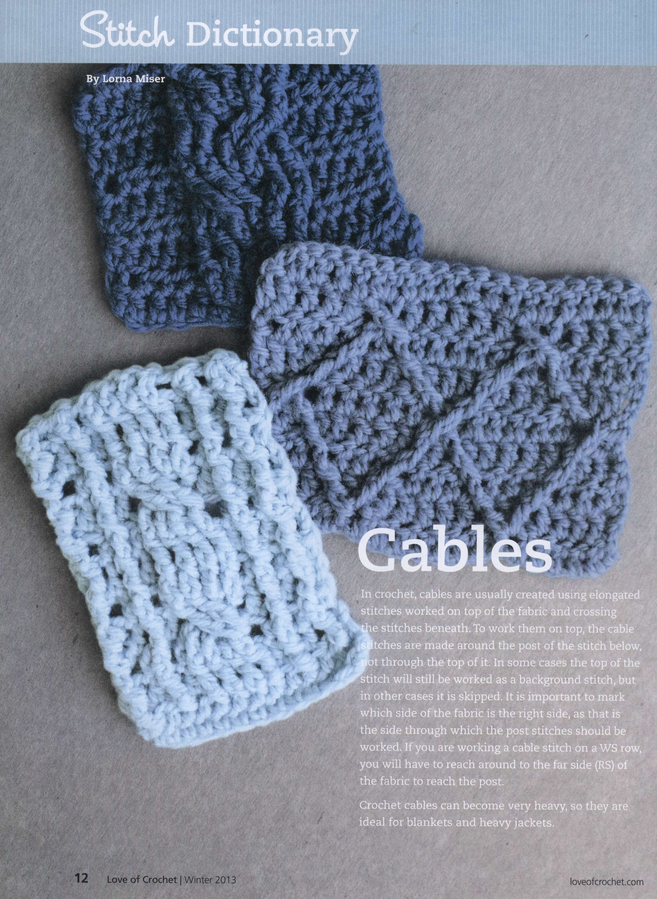 Crocheting Cables : Crochet cable stitches, wide cable stitch, long cable stitch and ...