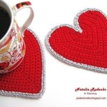 Easy Heart crochet coasters