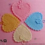 Heart crochet coasters