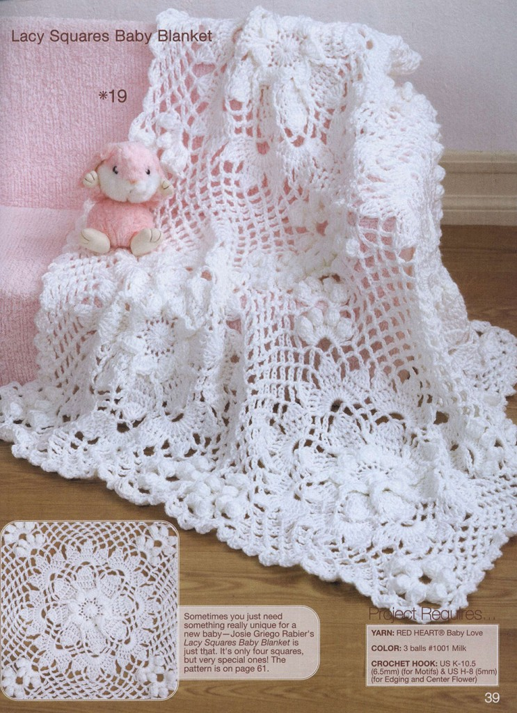 Free Knitting Patterns For Lacy Blankets : Lace Squares Crochet Baby Blanket ? Crochet Kingdom