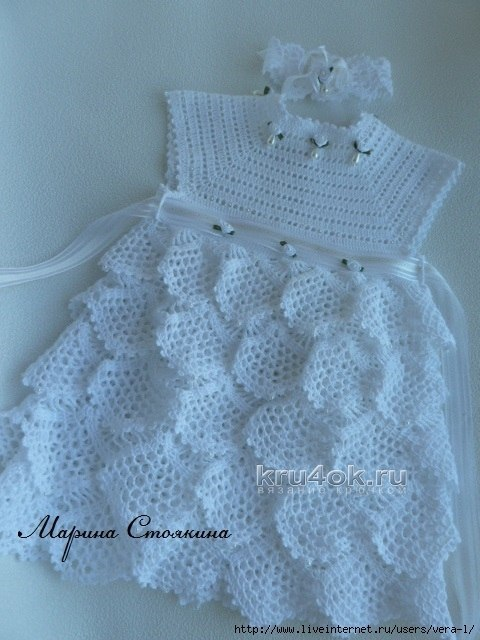 Free Crochet Ruffle Dress Patterns : Mesh ruffles baby dress free crochet pattern ? Crochet Kingdom