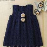 Navy blue crochet baby dress