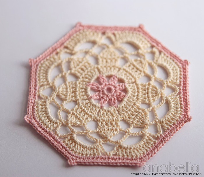 octagon - crochet coaster pattern 3