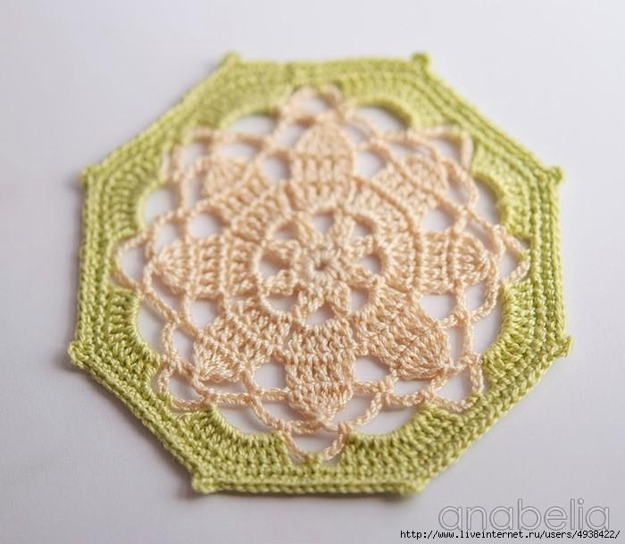 octagon - crochet coaster pattern 4
