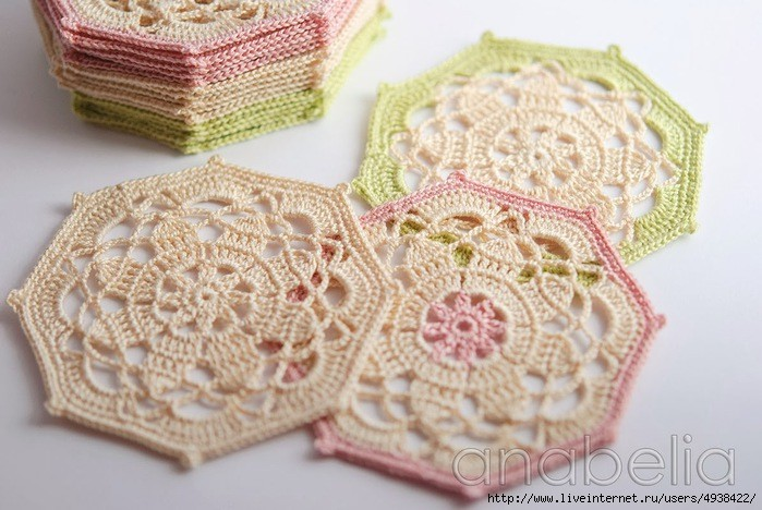 octagon - crochet coaster pattern 5
